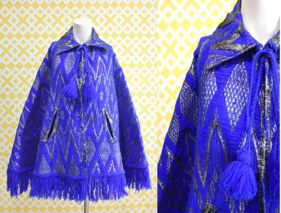 Vintage 60's Metallic Native Poncho Free Size
