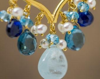 18 Karat Gold Hoop with Aquamarine, Topaz, Kyanite, and Pearls