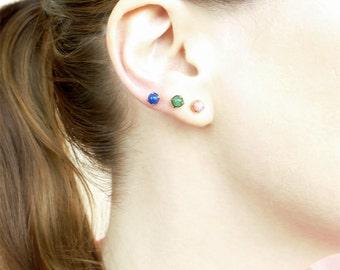 Tiny Stud Earrings, Small Everyday Studs, Pink Coral , Blue Jade, Green Jade Earrings