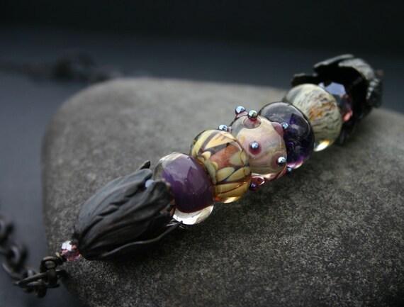 Artisan Lampwork Necklace, Purple, Fallen Angel Brass
