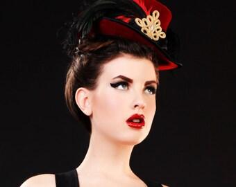 The Bijoux - Mini Black or Purple velvet Top Hat Ostrich Feathers rhinestones applique