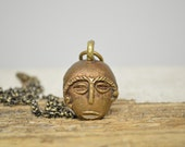 Antique African Tribal Mask Pendant Necklace