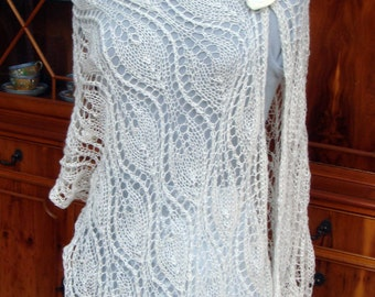 Knitted Ivory Mohair Wedding Shawl Stole Bridal