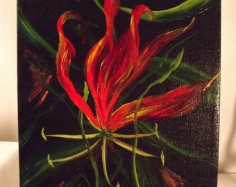 Flame Lily - Original Acrylic Painting - 9x12 Wrapped Canvas - Brilliant Colors
