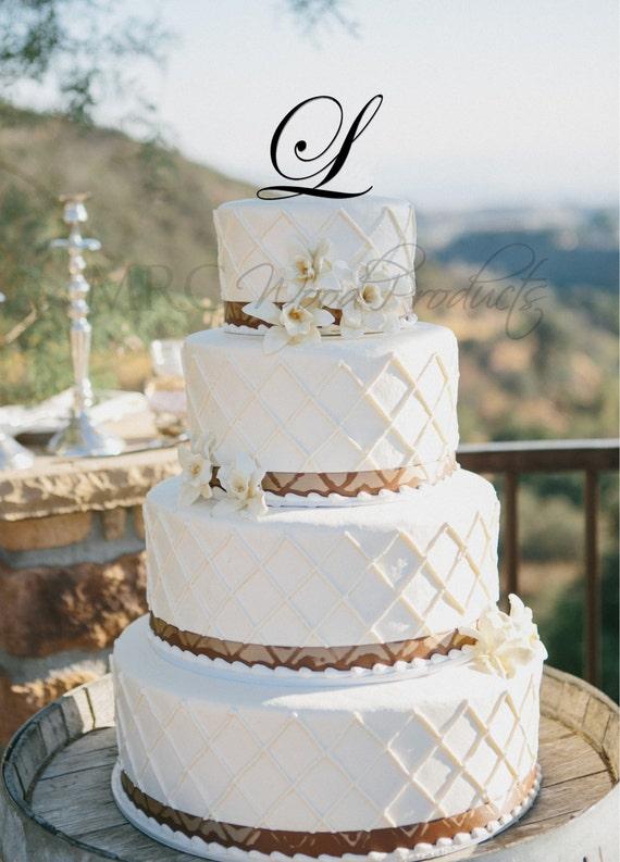 Wedding Cake Topper Personalized Single Initial Monogram Cake Topper
