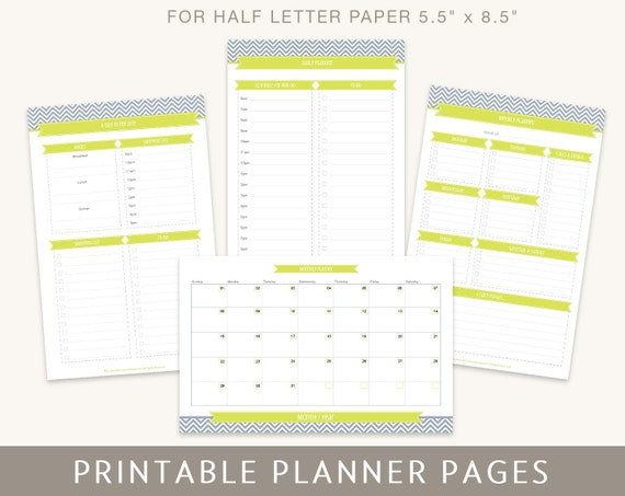 Printable Planner Pages: Daily Weekly Monthly Planners