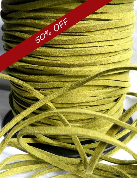 5 Yards- Lime Green Suede Cord