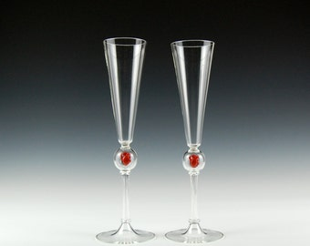 Anatomical Heart Champagne Flutes, hand blown glass