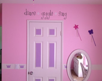 "Dance Giggle Sing 36""l x 8""h Girl Flower Vinyl Wall Lettering Words Quotes Decals Art Custom"