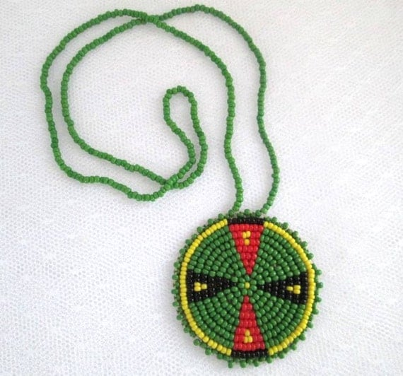 SALE - Native American Style Seed Bead Pendant Medallion Necklace