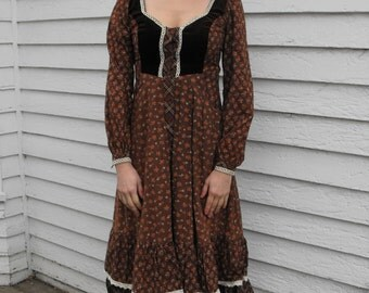 Gunne Sax Dress Brown Print Vintage 70s Boho Prairie Maiden XS