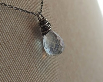 Mystic Quartz, Mystic Quartz Necklace, Blue Wrapped Necklace, Blue Necklace, Mystic Necklace, Blue Quartz Necklace, Eco Fashion