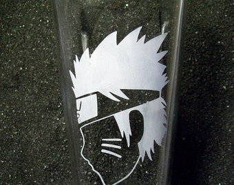 Teen Ninja face etched tumbler pint beer glass