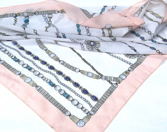 Pearl String and Chain Print Pastel Vintage Scarf