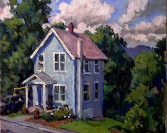 The Blue House, the Berkshires in July. Oil on Canvas, 12x12 American Impressionist Landscape Painting, Signed Original Realist  Fine Art