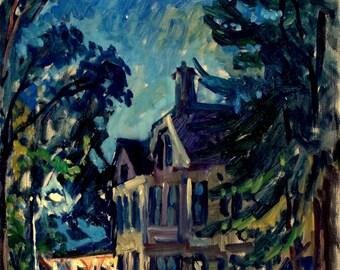 Tanglewood Nocturne. Original Oil Painting, Oil on Panel, 11x14 Impressionist Plein Air Fine Art, Original Signed Berkshires Night Scene
