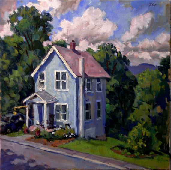 maison bleu ciel d 39 ete 39 peinture a lhuile sur. Black Bedroom Furniture Sets. Home Design Ideas