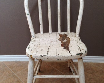 Antique Primitive Early Original Wooden Bow Back Chair. White Paint Farm Country.  Hand Made.  Old Chippy Paint.
