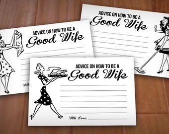 RETRO HOUSEWIFE 4X6 Advice Cards for Bridal Shower- Instant Printable Download