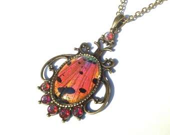 Real Pink Butterfly Wing Pendant Necklace, Sunset Moth Statement Necklace, Girls Insect Jewelry, Beadwork