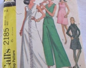 vintage Misses DRESS & PANTDRESS (2 lengths)--  McCalls 2185 (1969) -- Misses size 12