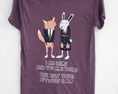Fox and Bunny - hand printed silk screened men's typographic t-shirt
