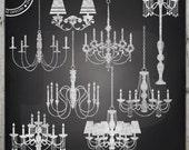 Chalkboard Chandelier clipart, Lamp clipart, Chandelier graphics, Instant Download
