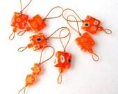 Bead Knitting Stitch Markers - Set of 7 Handmade Knitting Markers - Orangeade Flat Square Millefiori