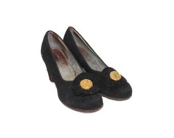 Black dress 70s earth shoes vintage