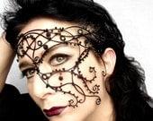 Black  Half face Mask, halloween mask, womens mask, costume, accessories, gothic mask, handmade mask,