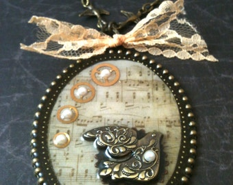 Song of Steampunk Antiqued Brass Necklace
