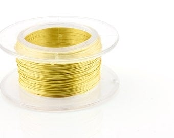 25% OFF!! WIRE - 28g (AWG) Yellow - Enameled Copper Wire - 15 yard spool.