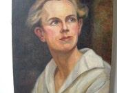 Vintage Oil Painting Man 1930s Preppy Blonde Handsome Portrait Gentleman