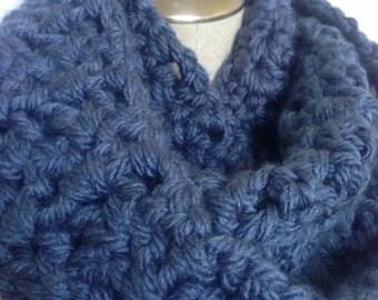 crochet scarf blue handmade,blue crochet handmade loop scarf.handmade circle crochet blue mobius  scarf