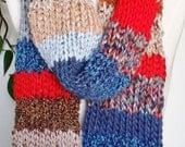 Gypsy Bohemian Scarf, Knit Scarf, Mixed Fiber Art, Fashion Knitwear, Multicolor, Colorful, One of a Kind