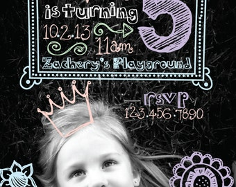Chalk Doodle Birthday Party Invitation