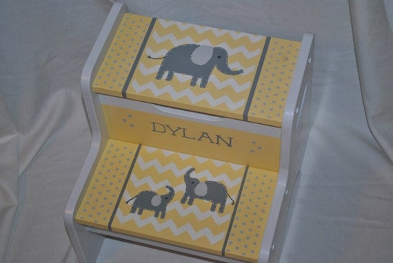 Kids Personalized 2 Step Stool Chevron Elephants