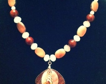 Bronze, Brown, and Cream Seashell Necklace