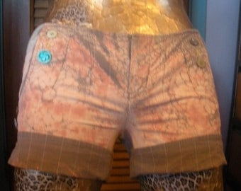 Upcycled Discharged Brown and Peach Pinstriped Short Shorts