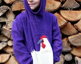 Child's chicken Hoodie in fleece with pointed hood / kids hoodie /  M / L