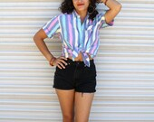 1980s sherbet striped chambray oxford // summer button-down shirt