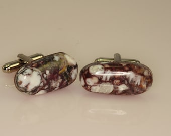 Wild Horse Magnesite Cufflinks Milk Chocolate Color Great Stones nice set of Cabochons  N-68