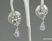 Dangle Earrings Clip On Crystal Rhinestone Bridal Wedding