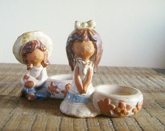 Pair of Vintage Figural Stoneware Little Girls Salt Bowls Egg Holder