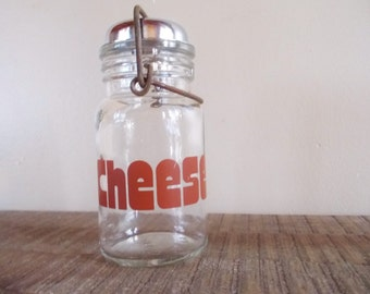Vintage Glass Parmesan Cheese Shaker Mason Jar with Red Lettering