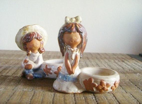 Pair of Vintage Figural Stoneware Little Girls Salt Bowls Egg Holders