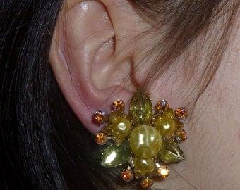 Vintage Lemon Lime And Aurora Borealis Rhinestone Clip Earrings