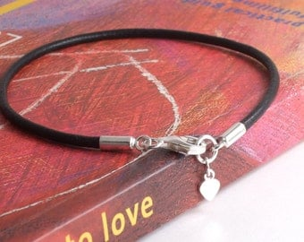 Sterling Silver Teeny Tiny Heart Leather Bracelet/Anklet/Ankle, 3rd Anniversary Gift, Mother's Day (Black,Brown,Pearl,Red) Heart Charm