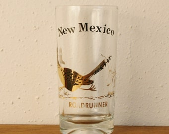 Vintage New Mexico Souvenir Glass with Roadrunner - Gold - by Couroc