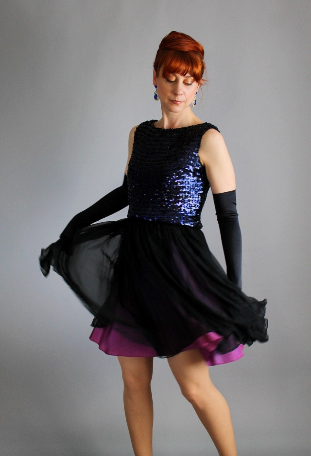 Gorgeous 1960s Purple Midnight Blue Chiffon Sequin Party Dress. Cocktail. Mad Men. Red Carpet. Glam. Prom